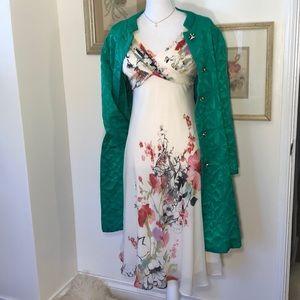 Adrianna Papell Silk Floral Empire Dress SZ.6